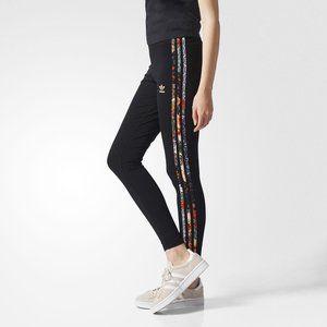 Adidas FARM Jardim Black Leggings Floral Stripes M